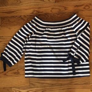 NWT J. Crew Navy & White Off-the-Shoulder Top
